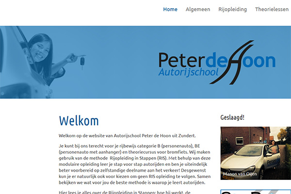 Website Autorijschool Peter De Hoon over op Joomla 3