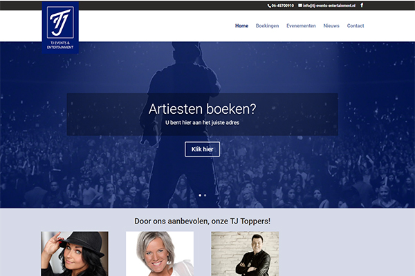 Website voor TJ Events & Entertainment